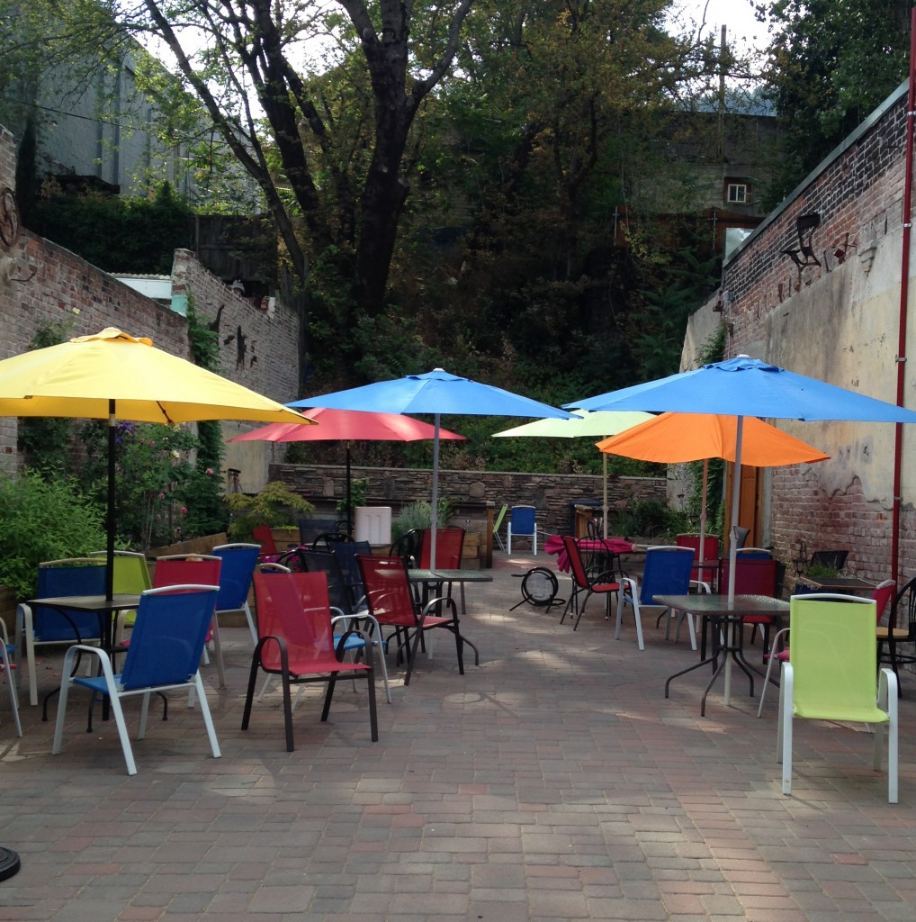 The patio space at Pops holds about 80 people, and has a stream running through it.