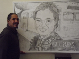Robert Caillier with his portrait of Rosa Parks